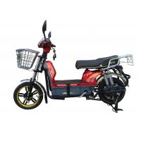 Buy cheap 450W Adult Electric Bicycle Red Battery Operated Bikes With Motorcyle Seat Steel Frame from Wholesalers