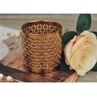 Buy cheap Golden Pottery Home Decor Candle Holders Glazing Outside And Inside Wall from Wholesalers