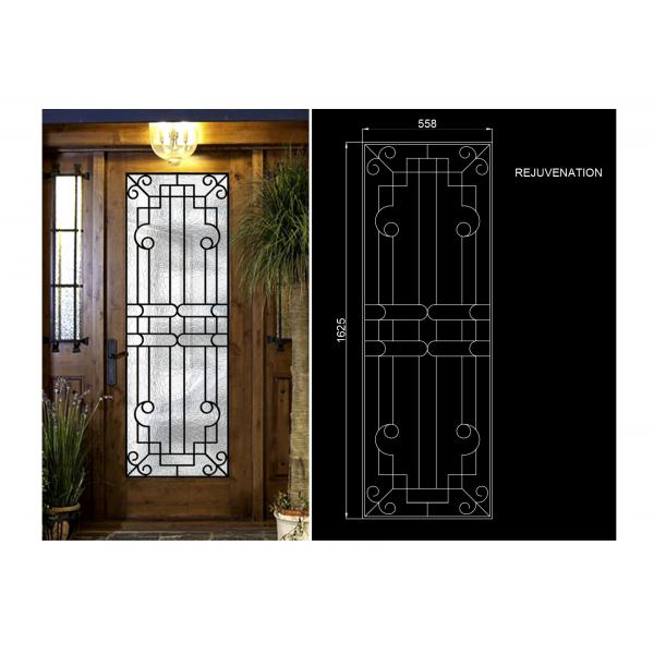Rust Prevention Wrought Iron Glass Door Inserts , Hollow Iron Glass ...
