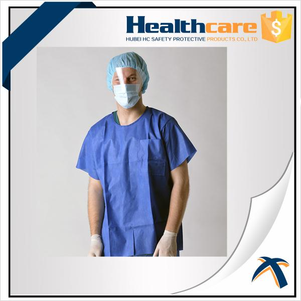 Short Sleeve Disposable Isolation Gowns Non Woven Heavy Blue Medline ...