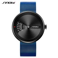 Buy cheap SINOBI Fashion Watches Men Steel Mesh Band Mens Watch Clock Sport 2018 New Modern Trending Creative Wristwatch from Wholesalers