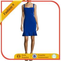 Buy cheap Sleeveless Fitted Bustier Flounce Dress, Blue from Wholesalers