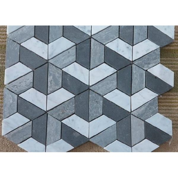 Silver Grey Irregular Marble Mosaic Wall Tile , Mosaic Shower Tile ...