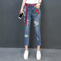 Buy cheap Jeans Fashion holes Flowers Embroideried Cropped Trousers 100%Cotton Blue from Wholesalers