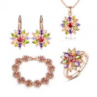 Multi Color Cubic Zirconia Flower Jewelry Sets 18K Gold Plated AAA Zircon Rose