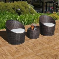 China 3 Piece Wicker Patio Conversation Set Outdoor Cushioned Rattan Furniture Set, Brown on sale