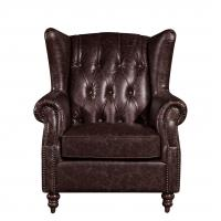 Home Furniture High Back Leather Armchair Movable Eitherdown Cushion Solidwood Frame