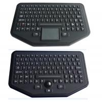Stand alone industrial illuminated keyboard with trackball black color