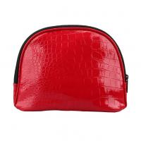 Girl PU Red Leather Makeup Bag Zip Around With Separate Compartments