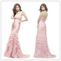 Buy cheap Strapless pink chiffon evening dress from Wholesalers