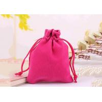 Buy cheap Durable Style Small Velvet Drawstring Bags Cotton Flap Soft Pink Colored from wholesalers
