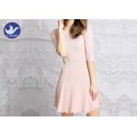 Buy cheap Water Ripple Edge Pink Knitted Jumper Dress Half Sleeves Nipped Waist For Summer from Wholesalers