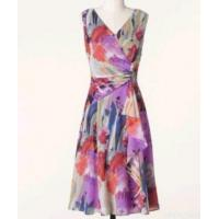 Ladies Flower Printing Wrap Dress