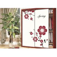 China Beautiful Pink / Purple Flower Wardrobe Sliding Door , Carved 9mm UV MDF Board on sale