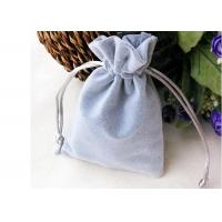 Buy cheap Jewelry Storage Velvet Drawstring Bags Promotional Light Grey Shock Resistance from wholesalers