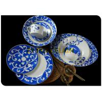 Italian Blue Colored Round Dinner Sets , 19 Piece Full Dinner Set For 6 OEM / ODM