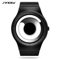 Buy cheap SINOBI Unique Vortex Concept Watch Men High quality Stainless Steel Milan Band Modern Trend Sport Black Wrist Watches from Wholesalers