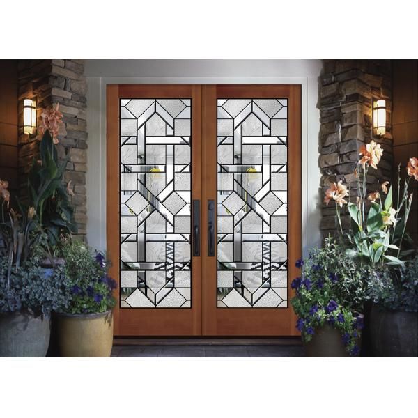 Interior Wood Doors Classical Art Glass Panels Thermal Sound Insulation Of Decorativepanelglass