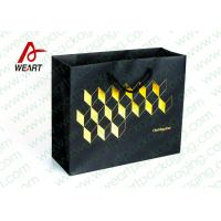 China Golden Hot Stamping Wedding Paper Gift Bags With Ribbon Handles on sale