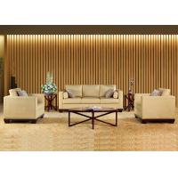 Fashionable Beige Color Fabric Hotel Public Area Wooden Frame 2 Seater Sofa