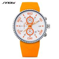 Buy cheap Sinobi Casual Watch Men Sport Waterproof Soft Silicone Strap Calendar Date Gear Design Chronograph Watches Wholesale from Wholesalers