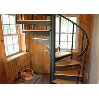 Buy cheap Walnut Tread Custom Spiral Staircase With Round Post Glass Balustrade from wholesalers