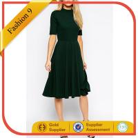 Buy cheap High Neck Textured Midi Dress with Short Sleeves from Wholesalers