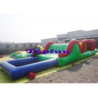 China Customized Inflatable Water Parks Obstacle / Inflatable Water Slide With Pool on sale