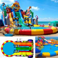 Buy cheap 10m diameter Water Pool Inflatable Water Park with giant water pool and water slide Design can be Customized from Wholesalers