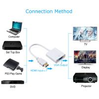 1080P Digital to Analog Video Audio HDMI to VGA Adapter For PC Laptop Tablet