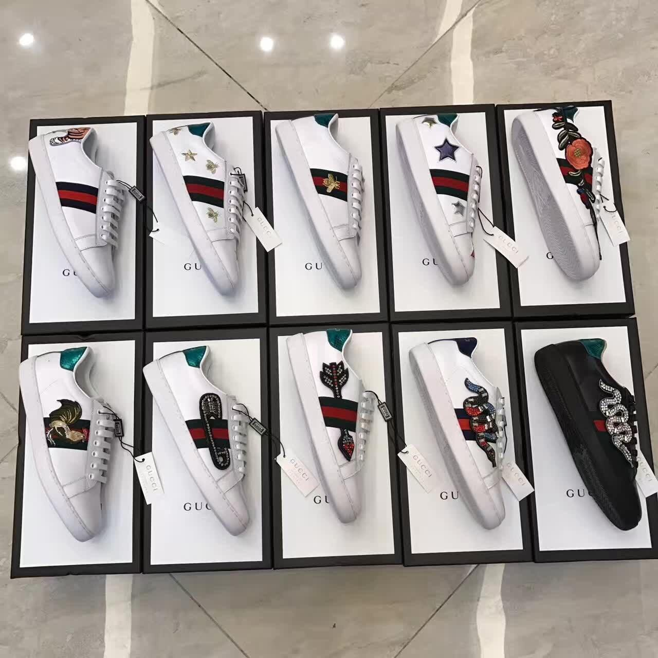 Buy cheap Gucci - zapatillas bajas Ace bordadas - mujer - Cuero/rubber , 2017 Newest Arrivals For Sale from Wholesalers