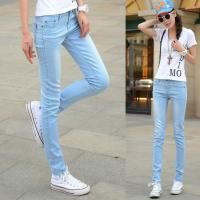 Buy cheap Jeans Women Straight Slim Leg Cotton&Polyster Light Blue with Elastic Fabric from Wholesalers