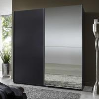 Elegant High Gloss Bedroom Furniture With Half Mirror Soft Sliding Door Wardrobe