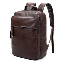 Buy cheap Preppy Style Leather School Backpack Bag For College Simple Design Men Casual Daypacks mochila male New from Wholesalers