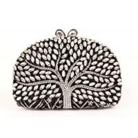 Encrusted Crystal Silver Clutch Evening Bag Large Srorage Space And Pearl Lock
