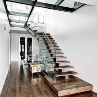 Buy cheap Modern design double steel straight plates open riser glass staircase with wire railing from wholesalers
