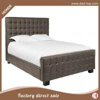 Buy cheap Luxury Comfortable Double Size Button Tufted Leather Bed With High Headboard from Wholesalers
