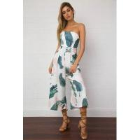 Buy cheap Leaf Print Strapless Wide Romper 26017 #26017 from wholesalers