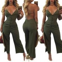 Buy cheap Army Green Button Up Halter Backless Jumpsuit 25607-1 #25607-1 from wholesalers