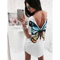 Buy cheap Back Butterfly Print Casual White Dress 25210-1 #25210-1 from wholesalers
