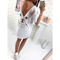 Buy cheap Back Cat Print Casual White Dress 25210-2 #25210-2 from wholesalers