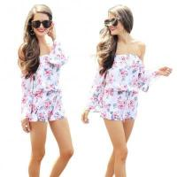 Buy cheap Off-Shoulder Floral White Rompers Jumpsuit 23946 #23946 from wholesalers