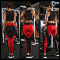 Buy cheap Fitness Women Patchwork Mesh Mid Waist Elastic Workout Yoga leggings Slim Trousers Sporting Leggings from wholesalers