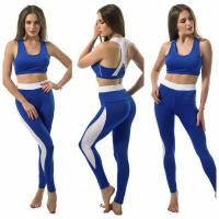 Buy cheap Blue patchwork white women yoga 2 pieces sport sets from wholesalers
