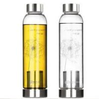 Wholesale Portable BPA Heat Resistant Pyrex Glass Water Bottle with Infuser