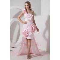 Buy cheap Unique One Shoulder Detachable Train Pink High Low Prom Dress from Wholesalers
