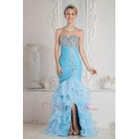 Buy cheap Luxurious Corset Back Aqua High Low Mermaid Party Dress from Wholesalers