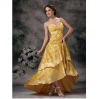 Buy cheap High Low Layers Skirt Celebrity Dress With Golden Lace from Wholesalers