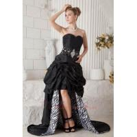 Buy cheap High Low Black Prom Dress Chapel Train Zebra Fabric Inside from Wholesalers