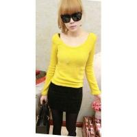 Buy cheap Korean Fashion Style Candy Color Patch Round-Neck Long Sleeve Slim T-Shirt Dress from wholesalers